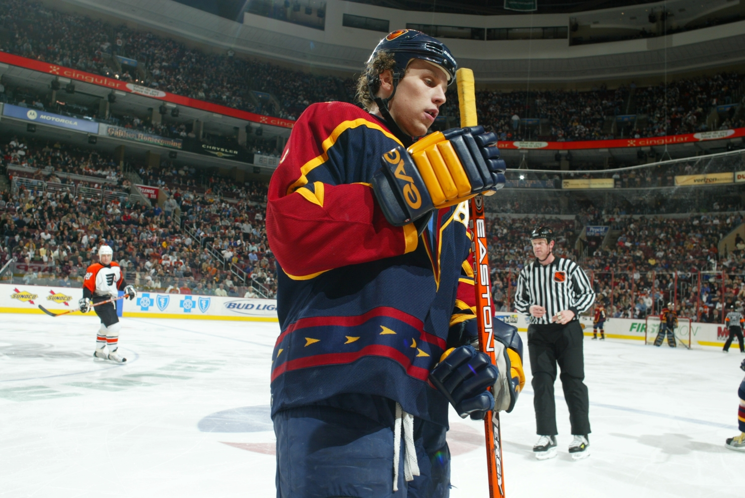 Dany Heatley stands on the ice during an Atlanta Thrashers game from the 2003 season.