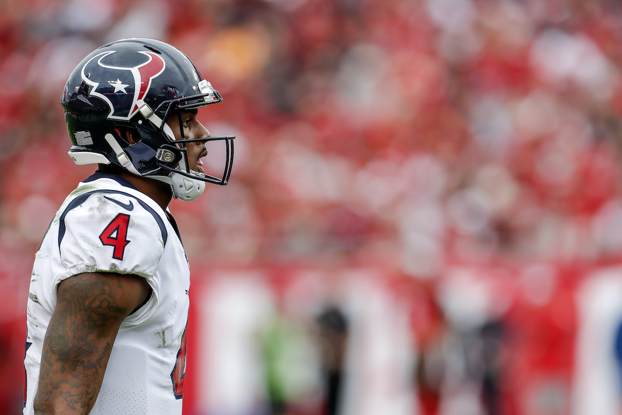 Deshaun Watson walks on the field for the Houston Texans