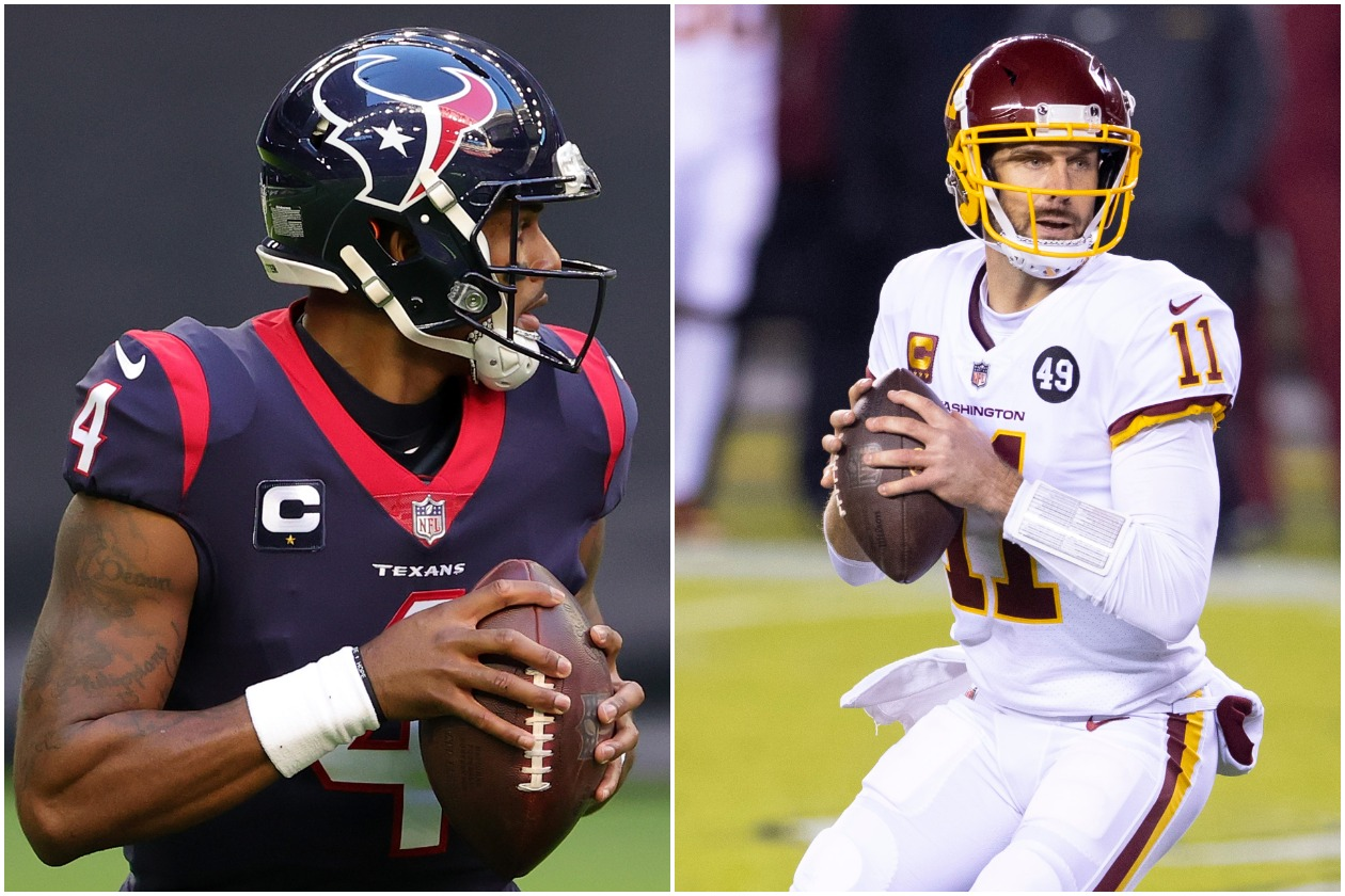 Houston Texans QB Deshaun Watson (left) and former Washington quarterback Alex Smith (right)
