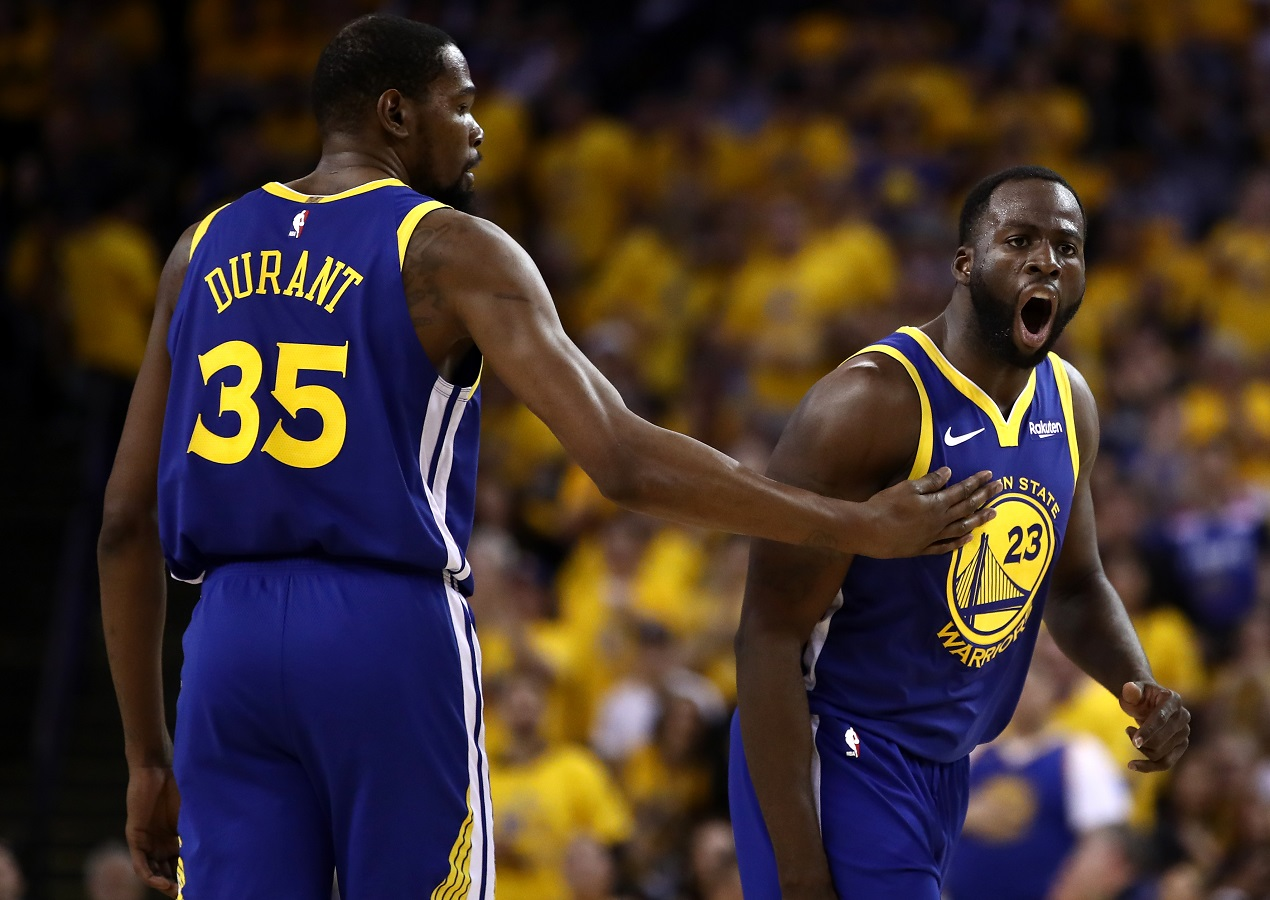 Draymond Green and Kevin Durant during the glory days of the Warriors dynasty
