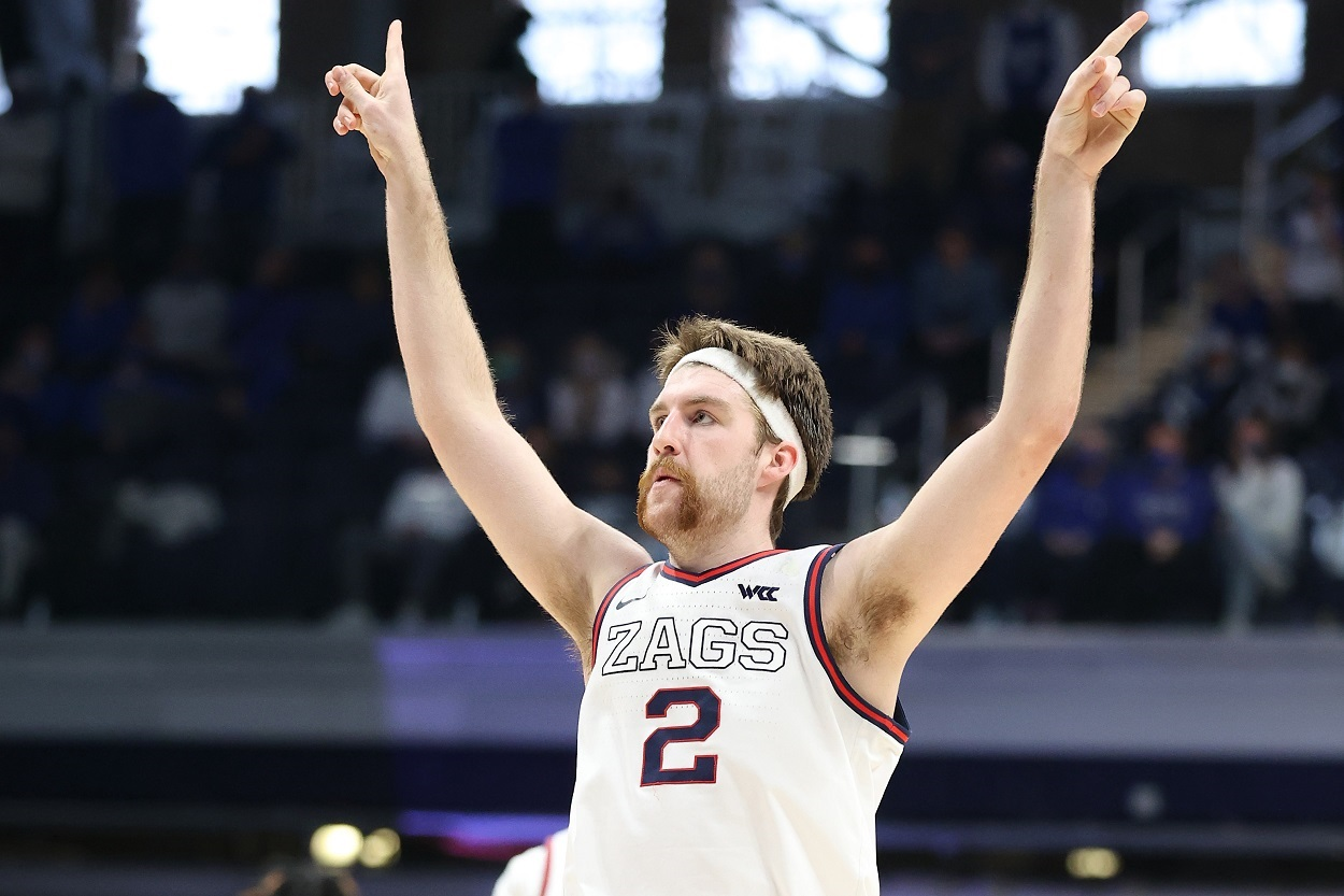 Gonzaga Bulldogs star Drew Timme celebrates during the Sweet 16 of the 2021 NCAA Tournament