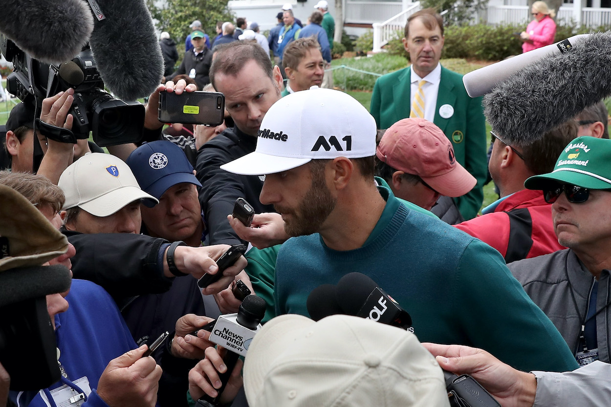 Dustin Johnson answers questions at the 2017 Masters