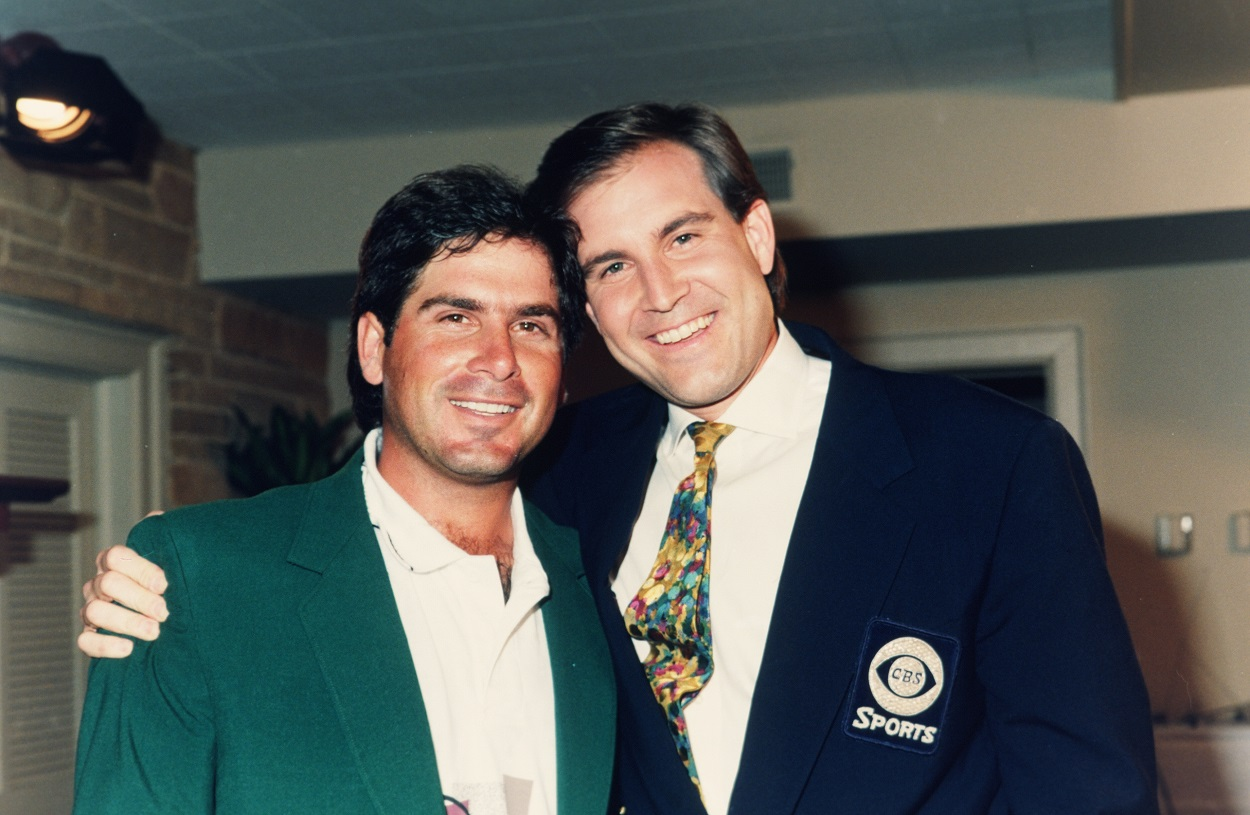 Fred Couples and Jim Nantz following the 1992 edition of The Masters