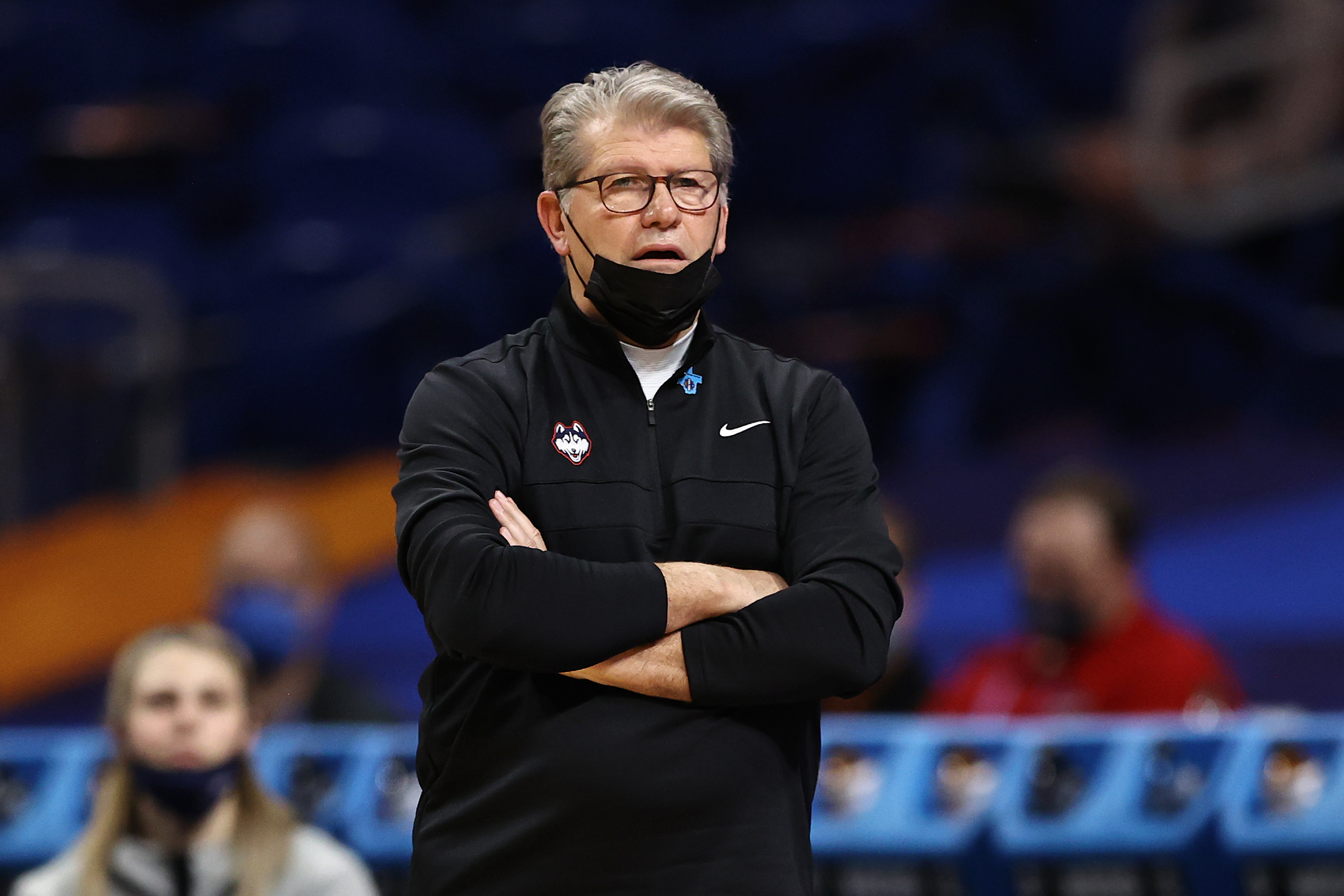 Geno Auriemma of the Connecticut Huskies looks on during Final Four