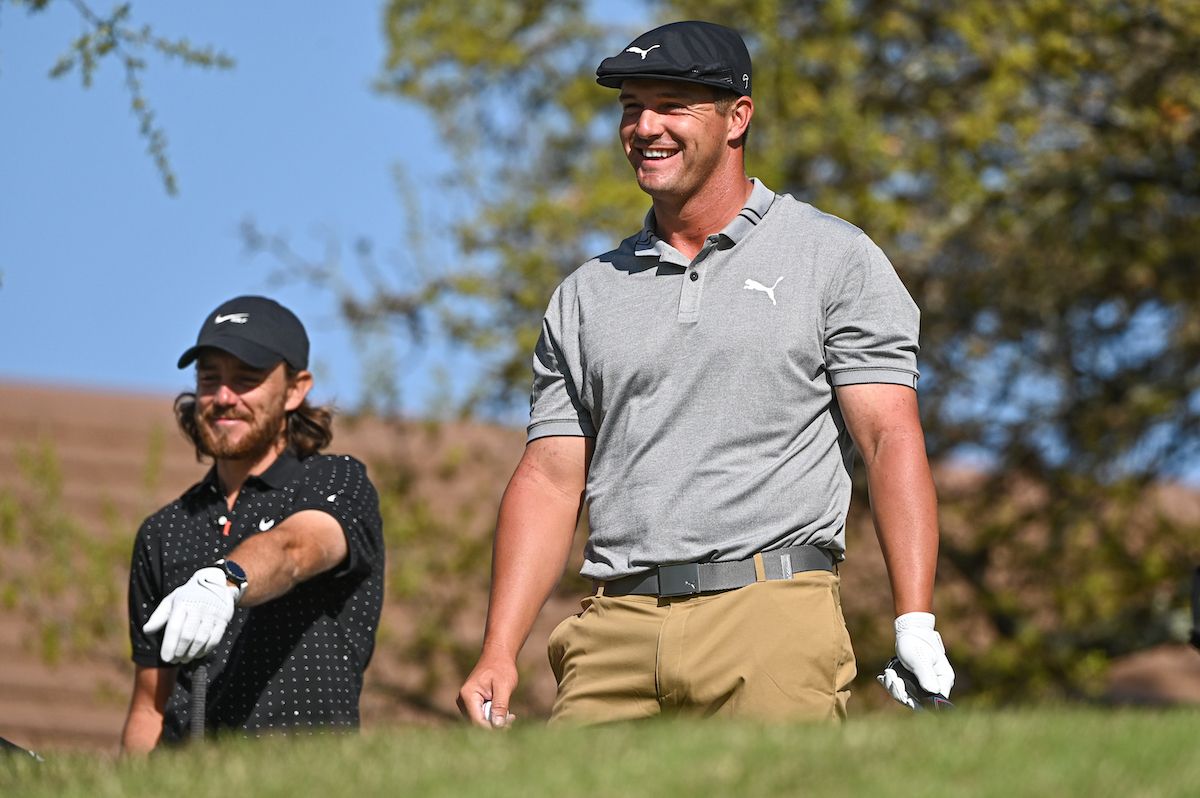 Bryson DeChambeau smiles during the 2021 World Golf Championships