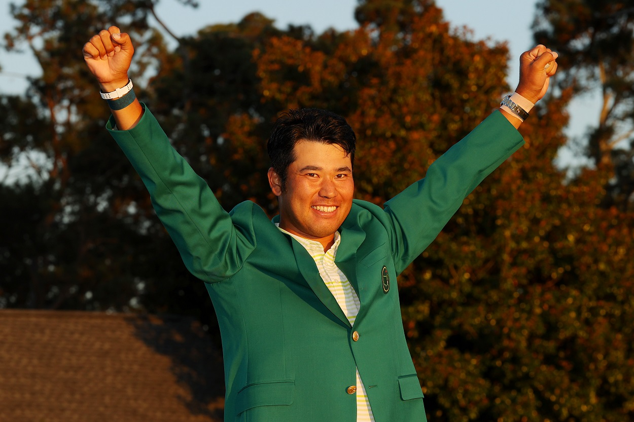 Hideki Matsuyama celebrates after winning the 2021 edition of The Masters