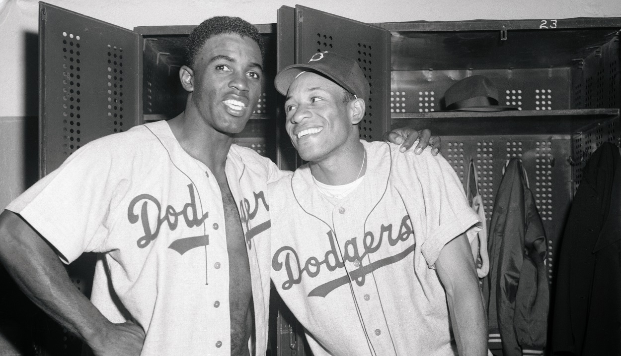 Brooklyn Dodgers teammates Jackie Robinson and Dan Bankhead at the 1947 World Series