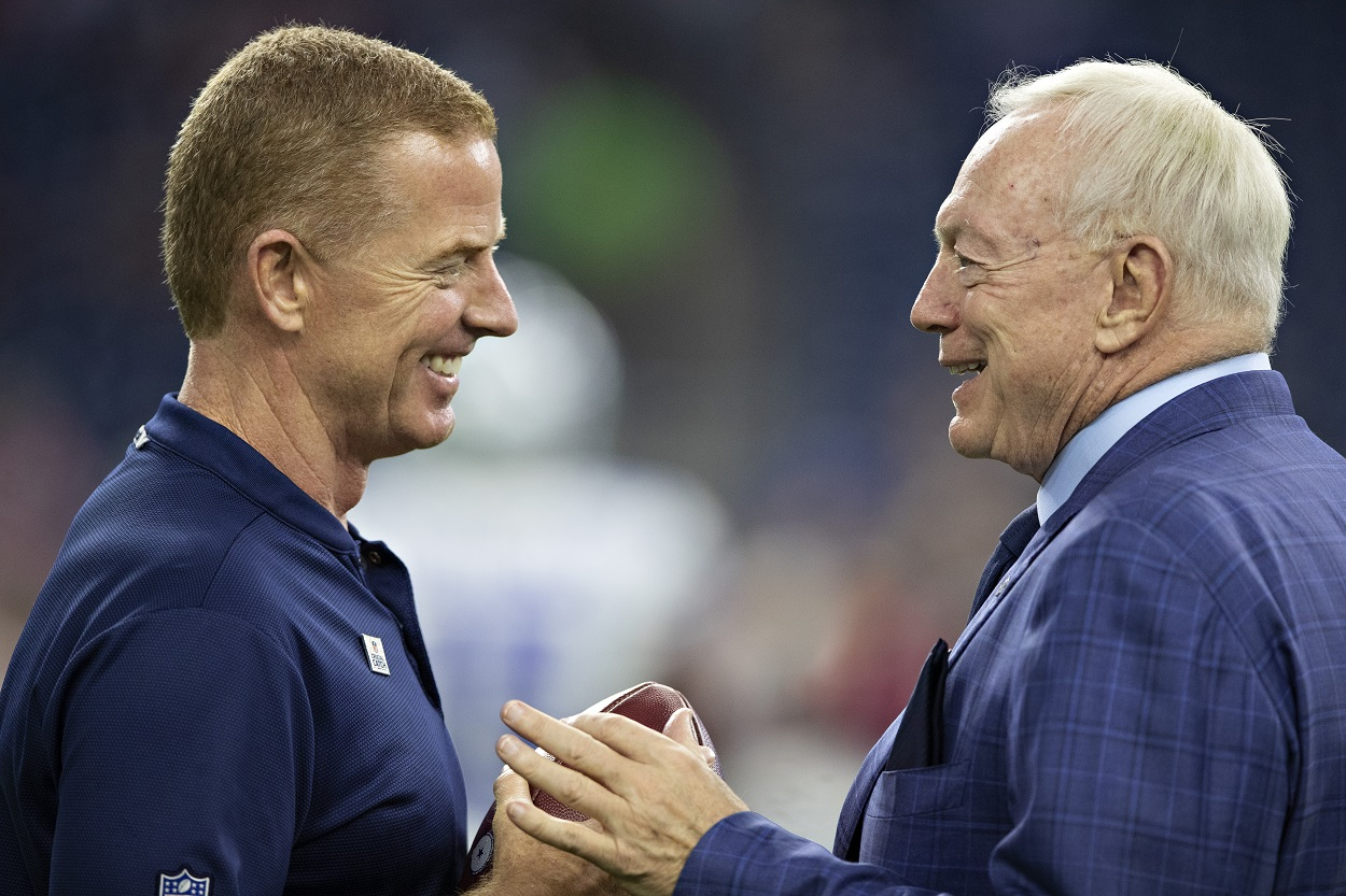 Now-former Dallas Cowboys head coach Jason Garrett and owner Jerry Jones in 2018