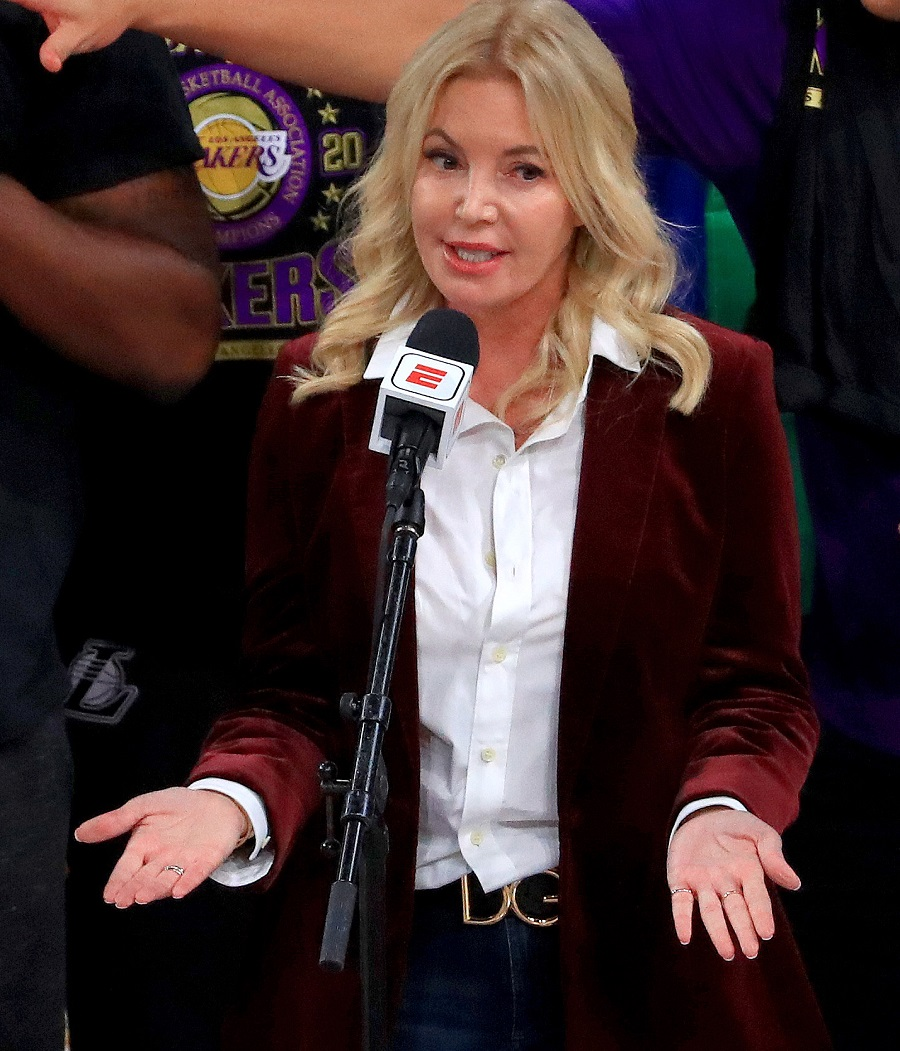 Los Angeles Lakers managing owner Jeanie Buss speaks after the team's victory over the Miami Heat in the 2020 NBA championship series in Lake Buena Vista, Florida. | Mike Ehrmann/Getty Images