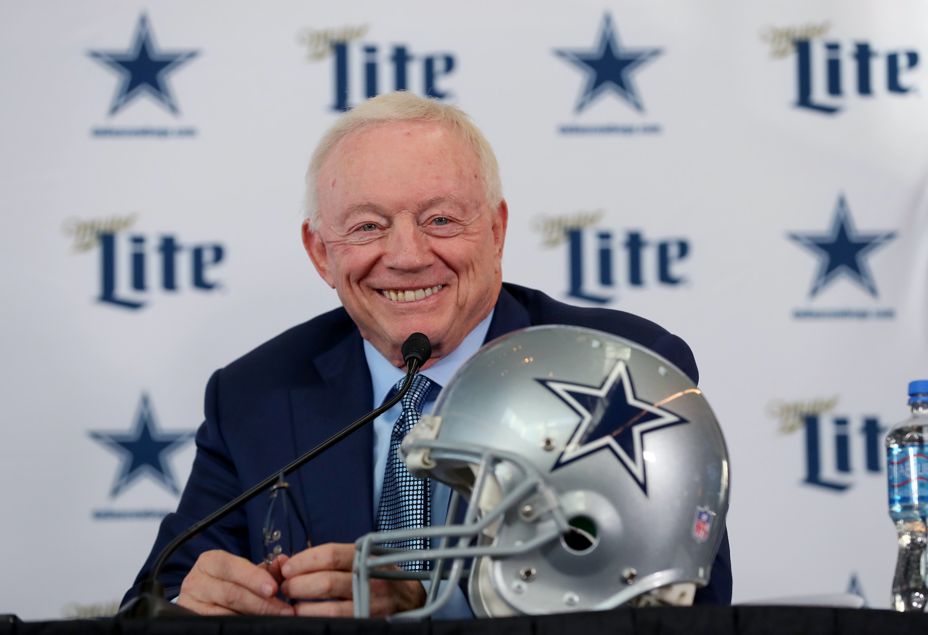 Dallas Cowboys owner Jerry Jones during a 2020 press conference.
