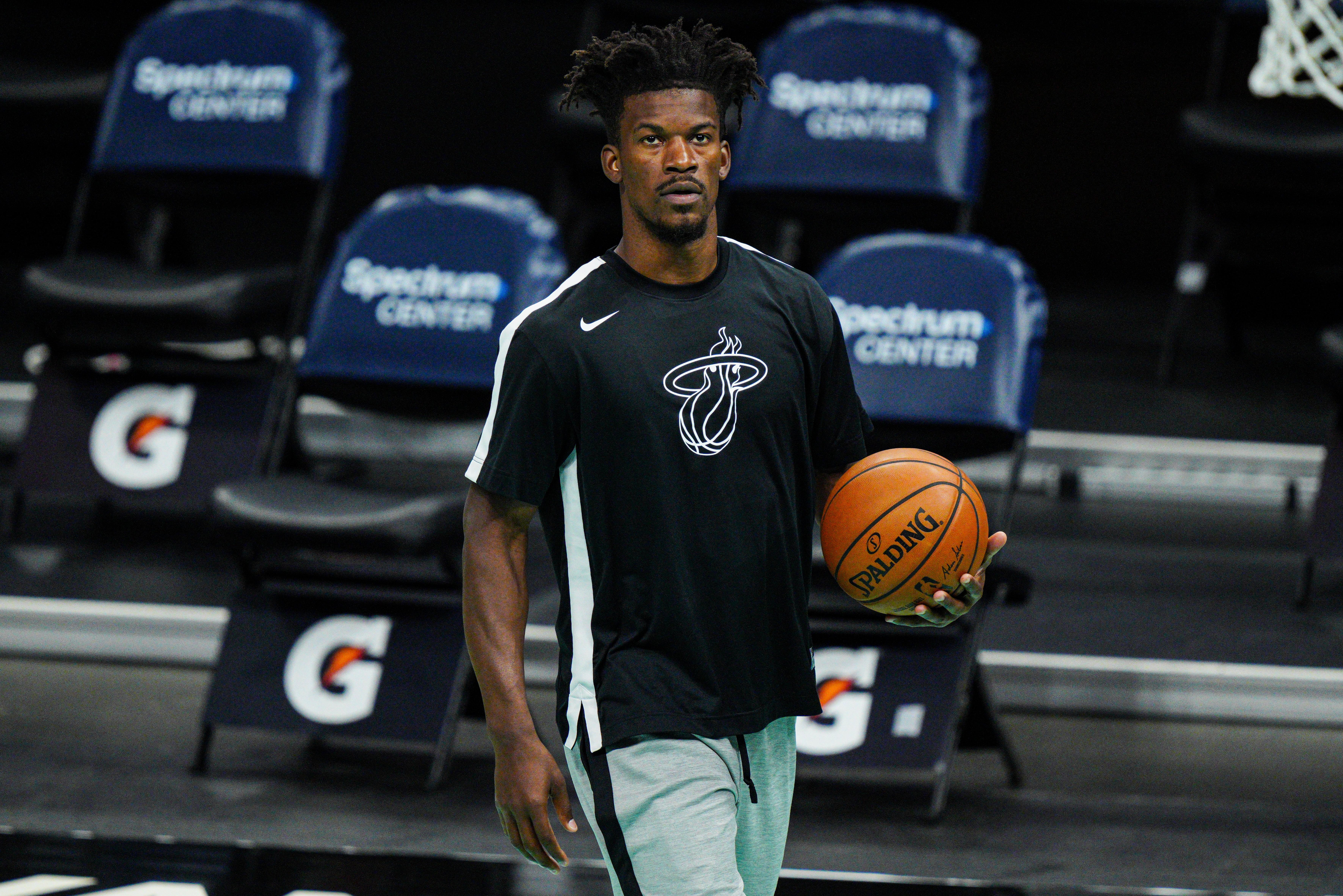 Jimmy Butler of the Miami Heat warms up