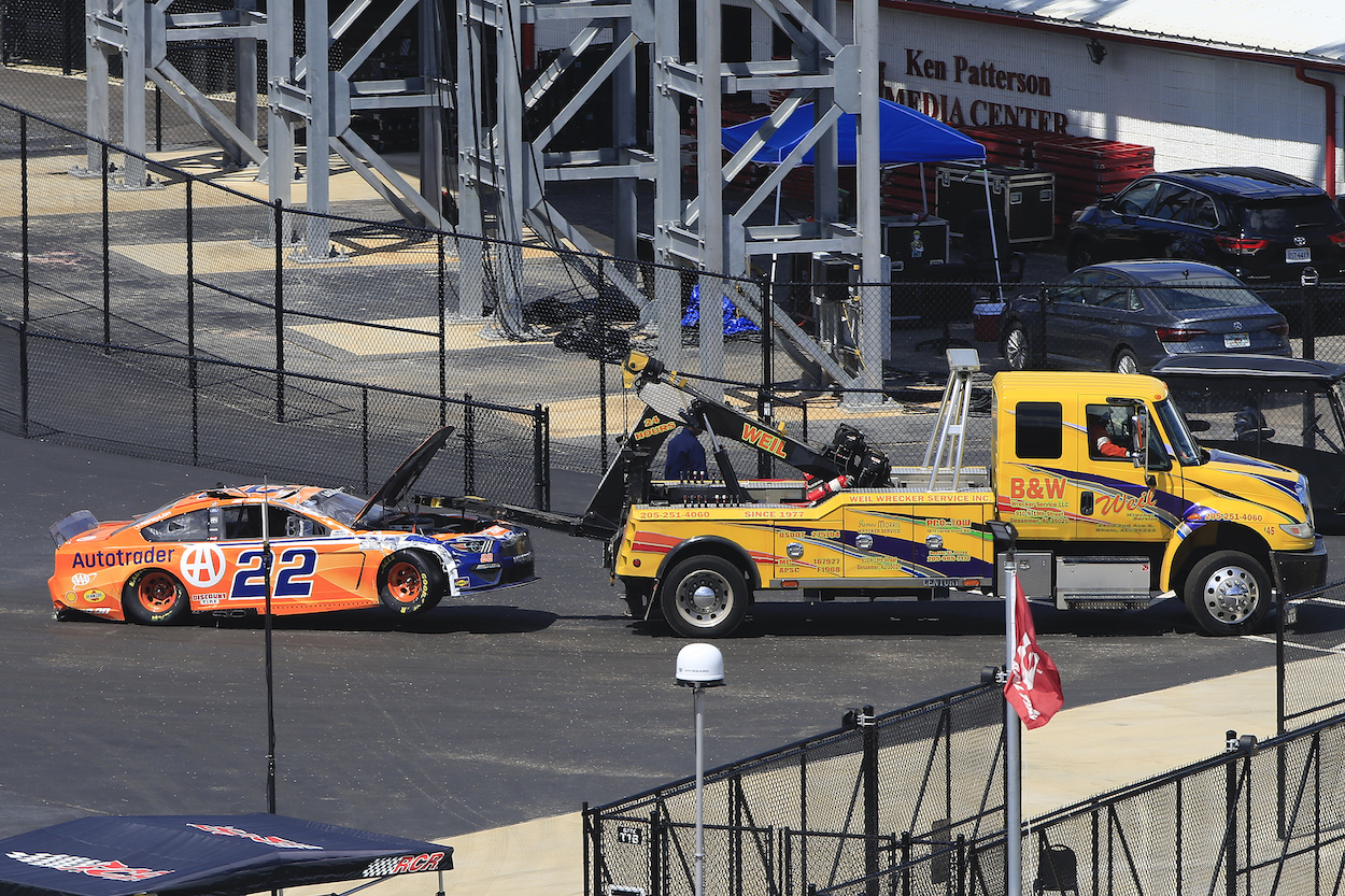 Joey Logano Reveals Frightening Photos of Damaged Car After Going Airborne and Landing on Roof at Talladega