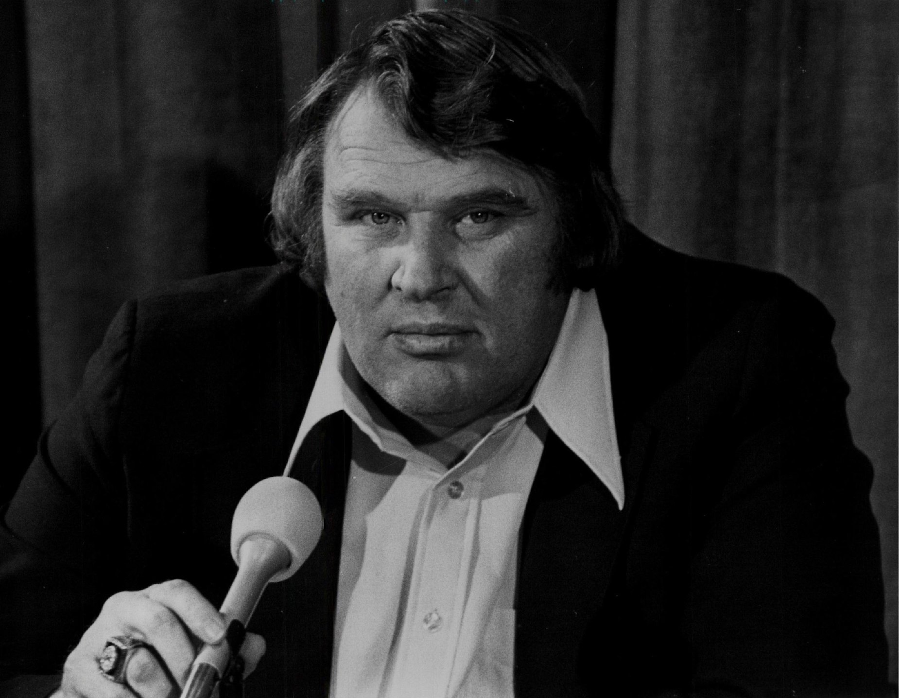 Oakland Raiders head coach John Madden during an interview in the 1970s