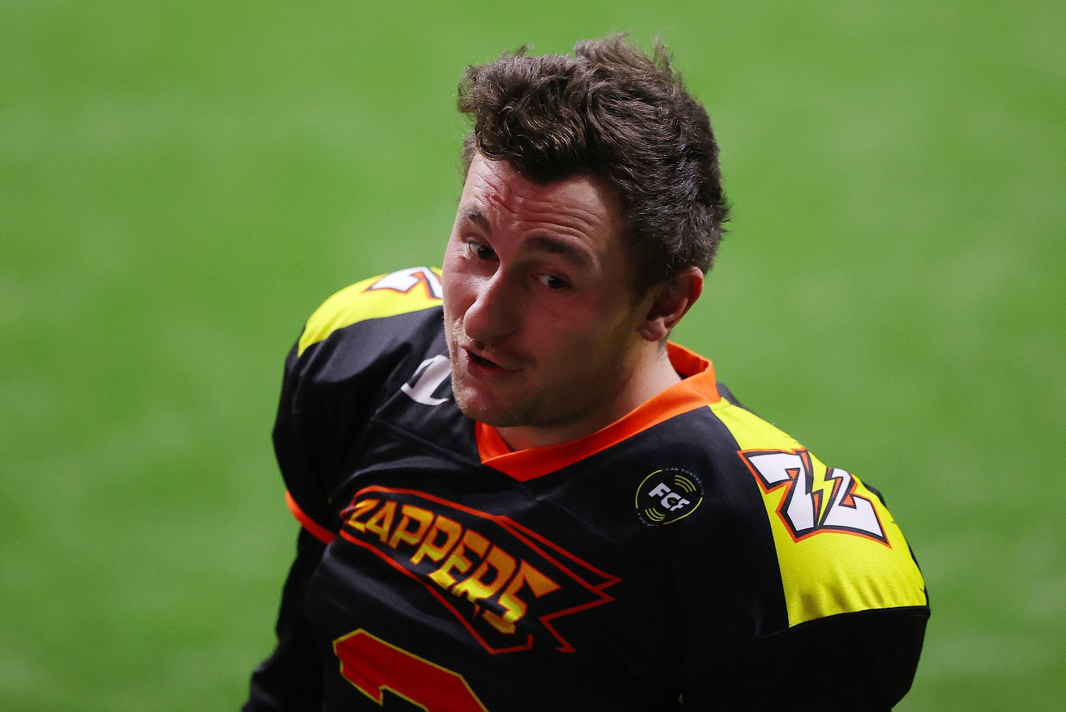 Johnny Manziel of the Zappers warms up before a Fan Controlled Football game at Infinite Energy Arena on Feb. 20, 2021, in Duluth, Georgia. | Kevin C. Cox/Fan Controlled Football/Getty Images