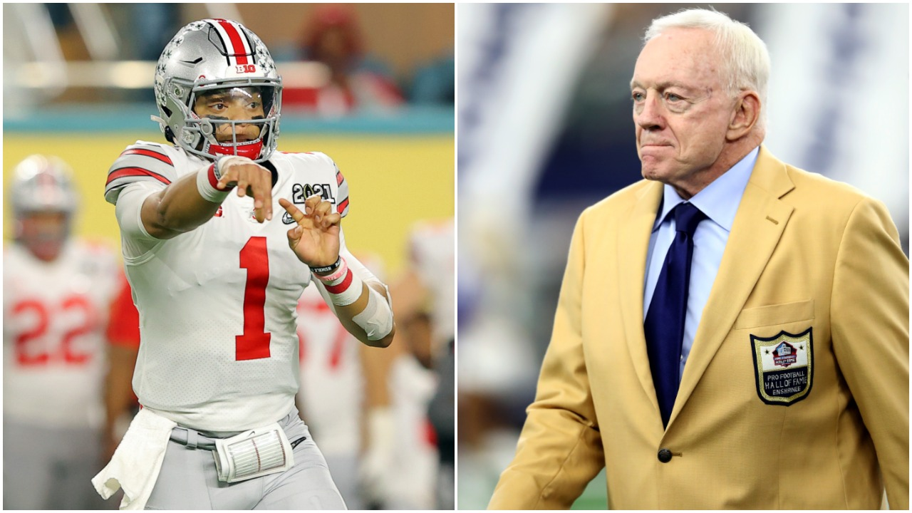 New Chicago Bears QB Justin Fields and Dallas Cowboys owner Jerry Jones