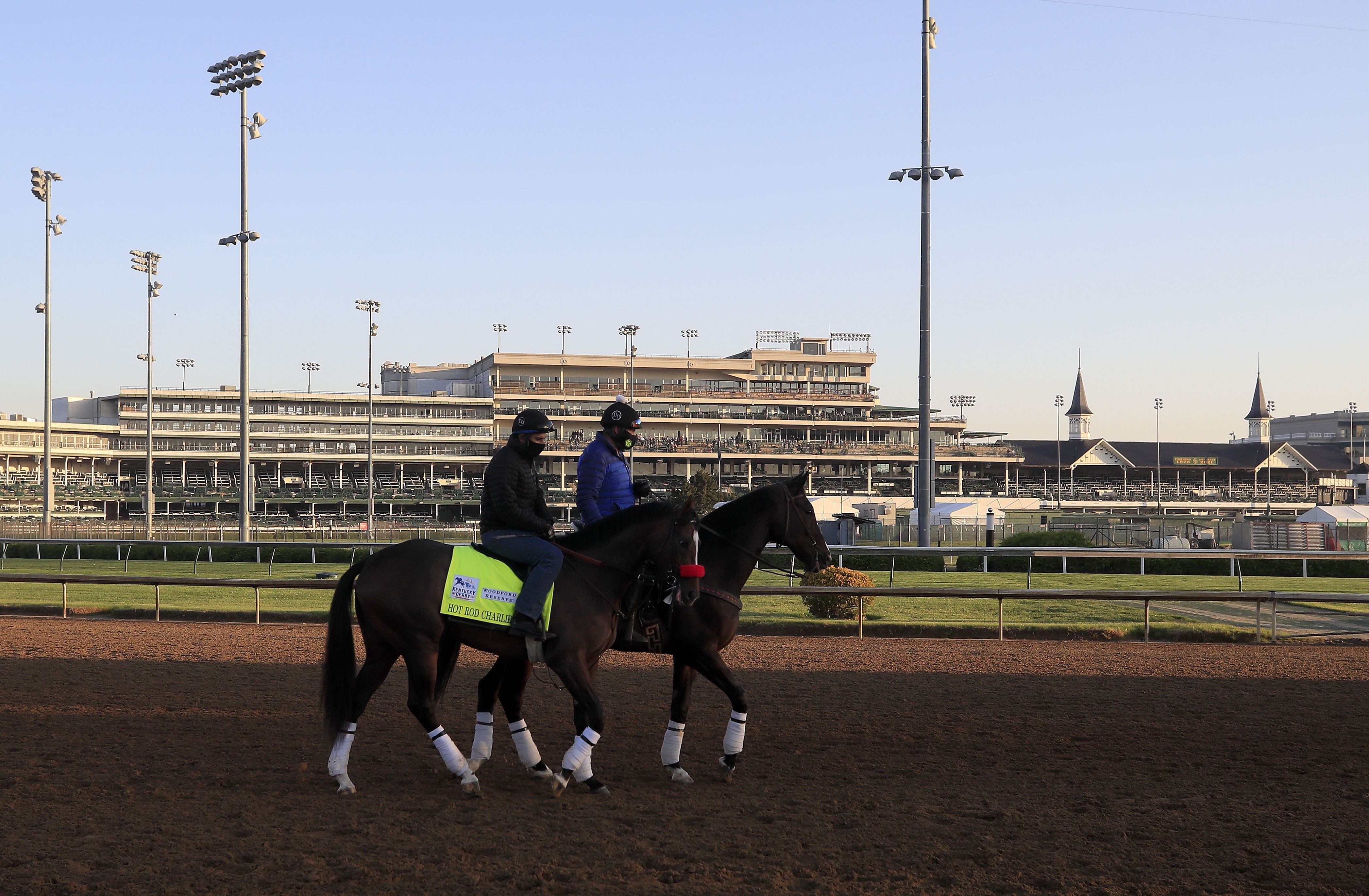 Hot Rod Charlie walks on the track during training for the Kentucky Derby at Churchill Downs on April 26, 2021