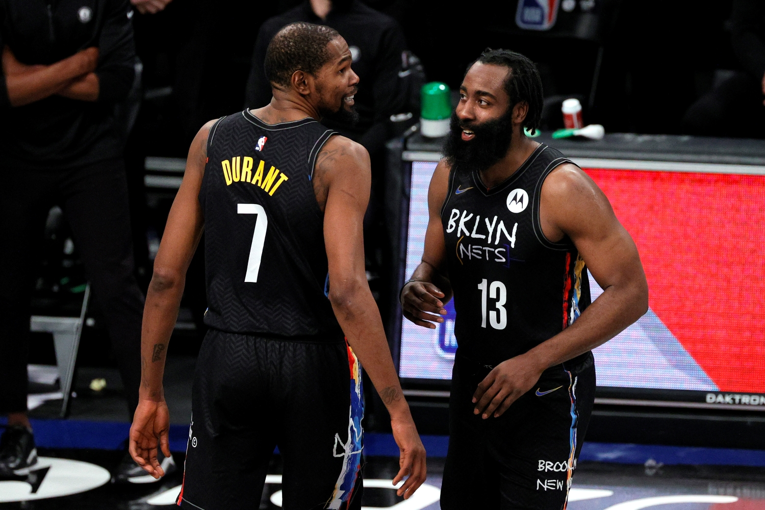 Brooklyn Nets star Kevin Durant and James Harden react after a play during the second half of a game against the LA Clippers.