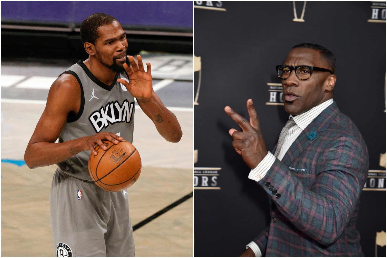 Brooklyn Nets star Kevin Durant pictured next to former NFL tight end Shannon Sharpe.