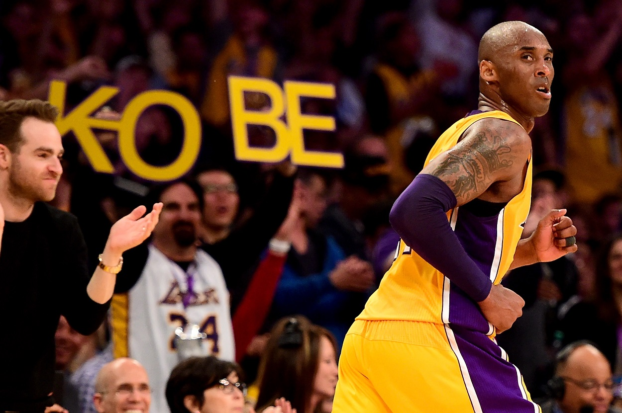 Former Lakers star Kobe Bryant reacts to a play in his last NBA game.