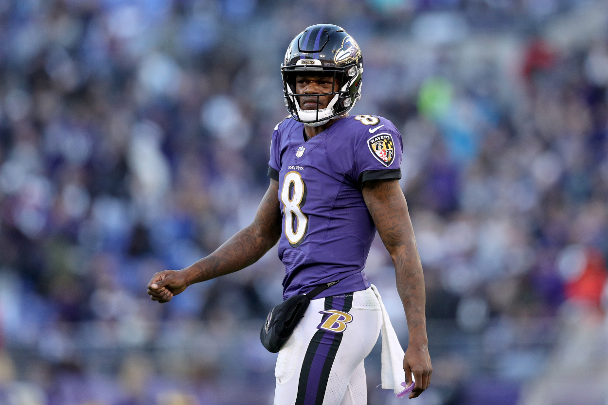 Baltimore Ravens quarterback Lamar Jackson, who is still on his rookie contract.
