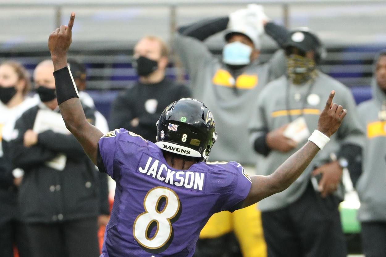 Baltimore Ravens quarterback Lamar Jackson in 2020.