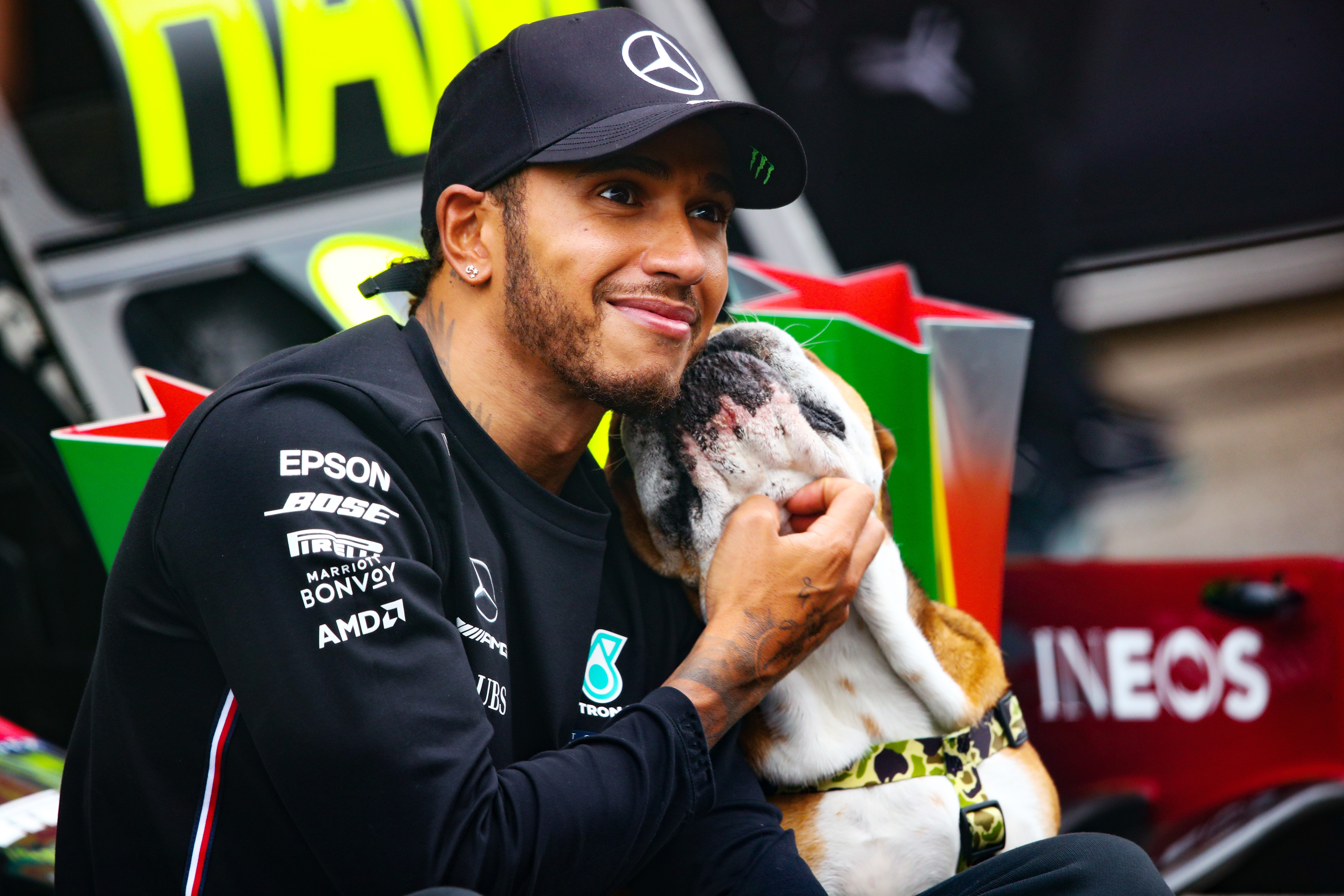 Race winner Lewis Hamilton of Mercedes GP celebrates with his bulldog Roscoe after the 2020 F1 Grand Prix of Portugal