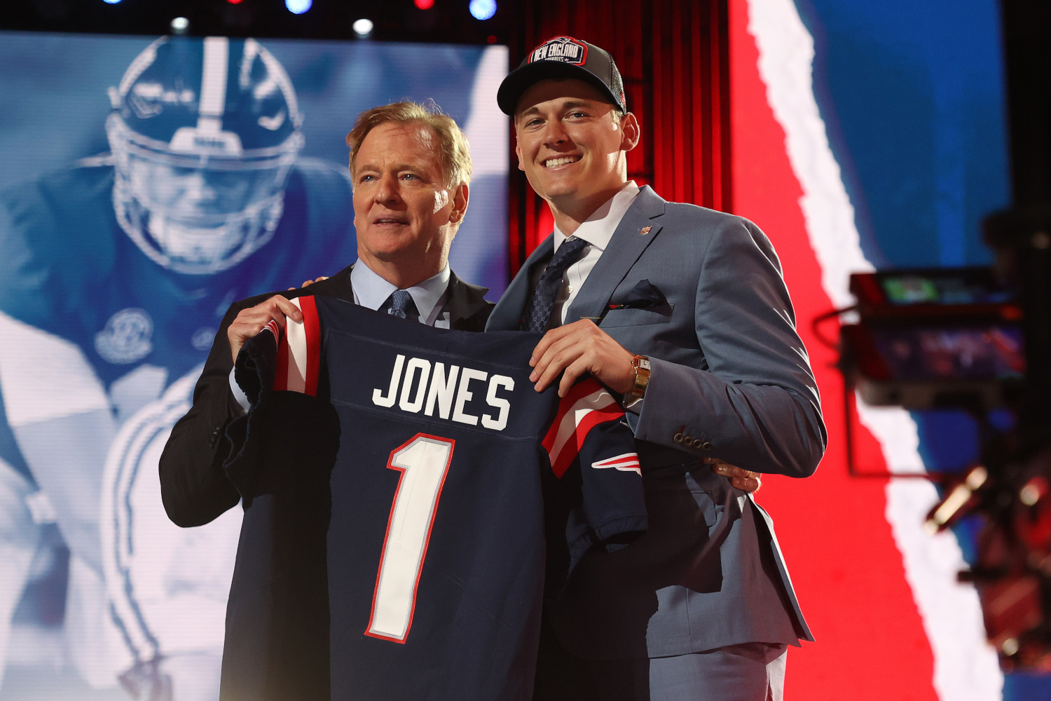 New England Patriots draft pick Mac Jones, selected in the first round by Bill Belichick