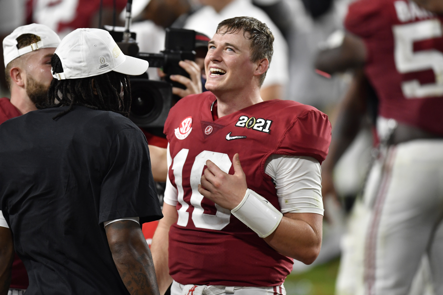 Alabama quarterback Mac Jones celebrates after a win in the College Football Playoff National Championship Game