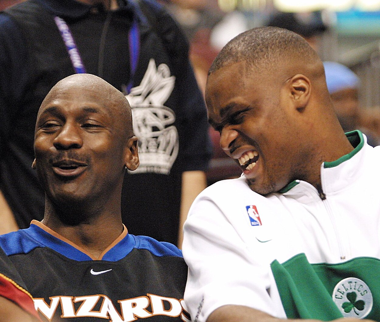 Washington Wizards guard Michael Jordan (L) during the 2002 NBA All-Star Game.