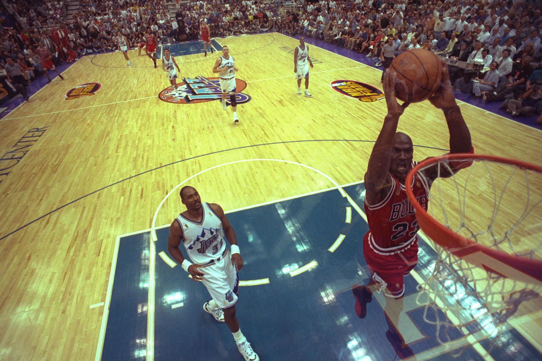 Michael Jordan dunks against the Utah Jazz in 1997.