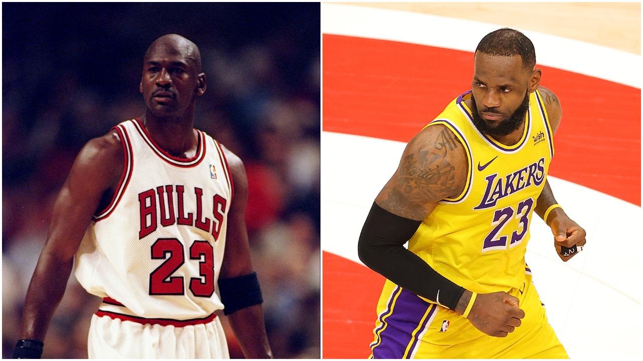 Michael Jordan in November 1997 and LeBron James in February 2021