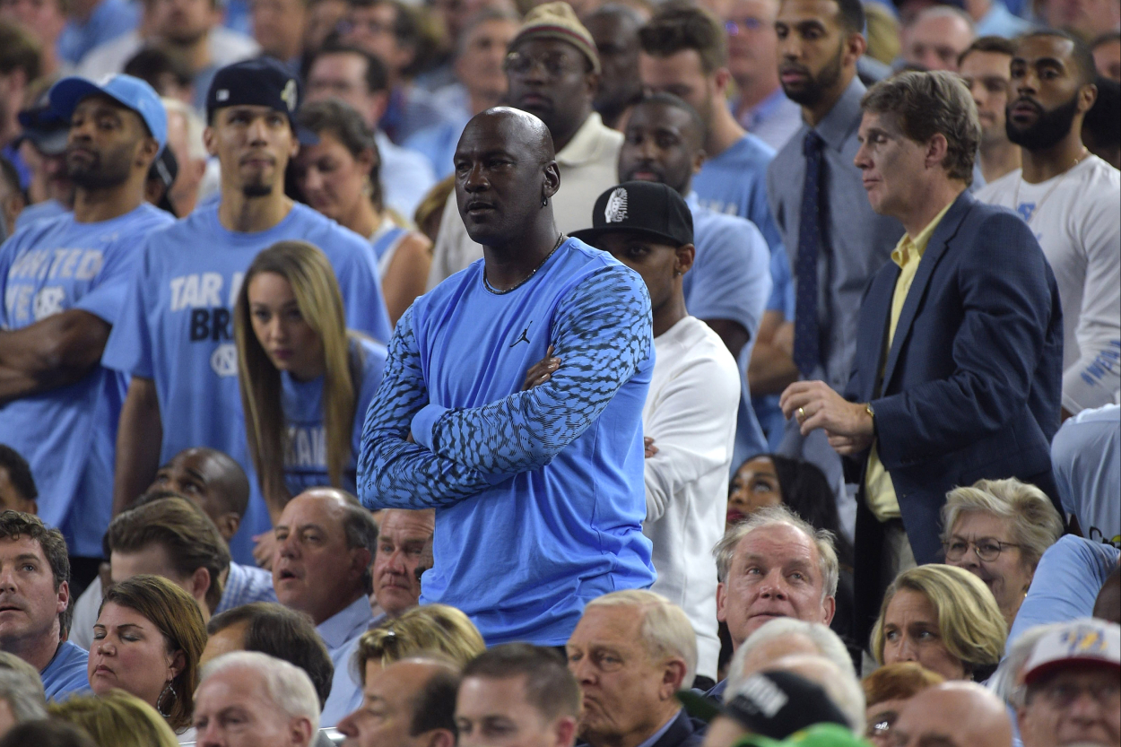 Michael Jordan at North Carolina's national championship game against Villanova.