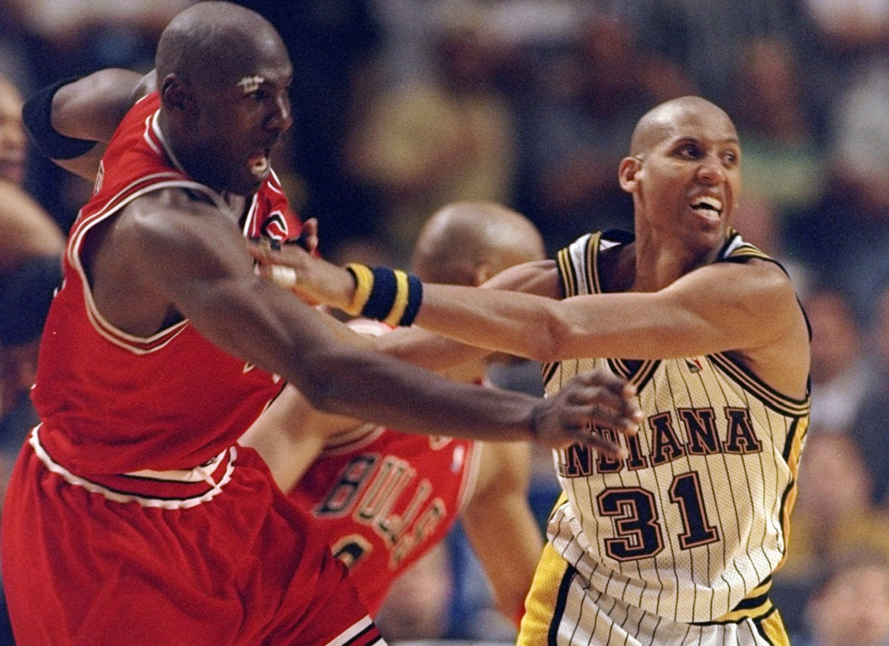 Michael Jordan and Reggie Miller battle during Game 6 of the 1998 Eastern Conference Finals