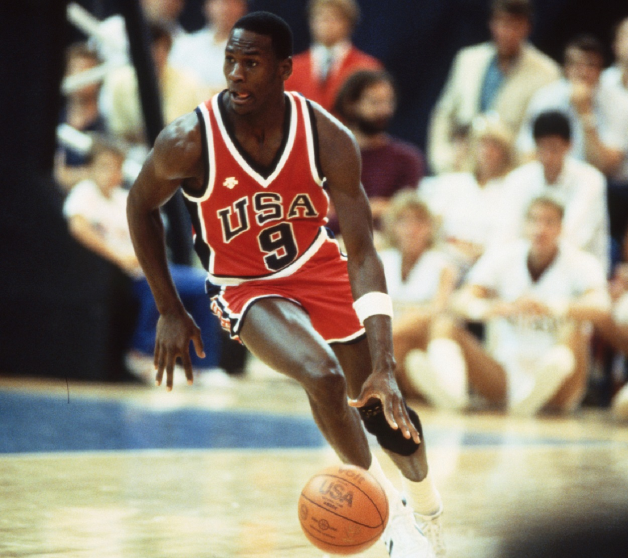 Michael Jordan during a game for Team USA at the 1984 Summer Olympics