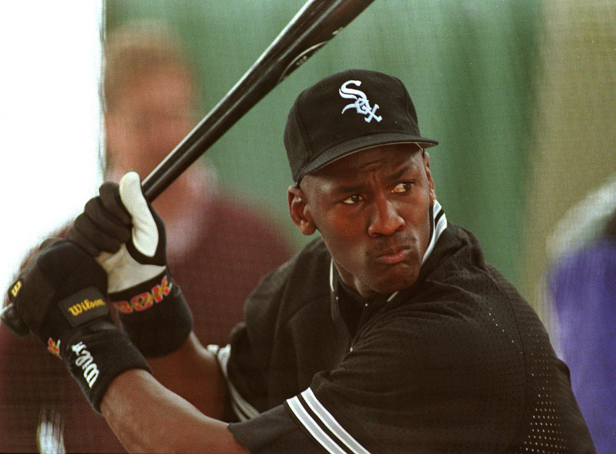 Michael Jordan takes batting practice on the day he signed a contract with the Chicago White Sox
