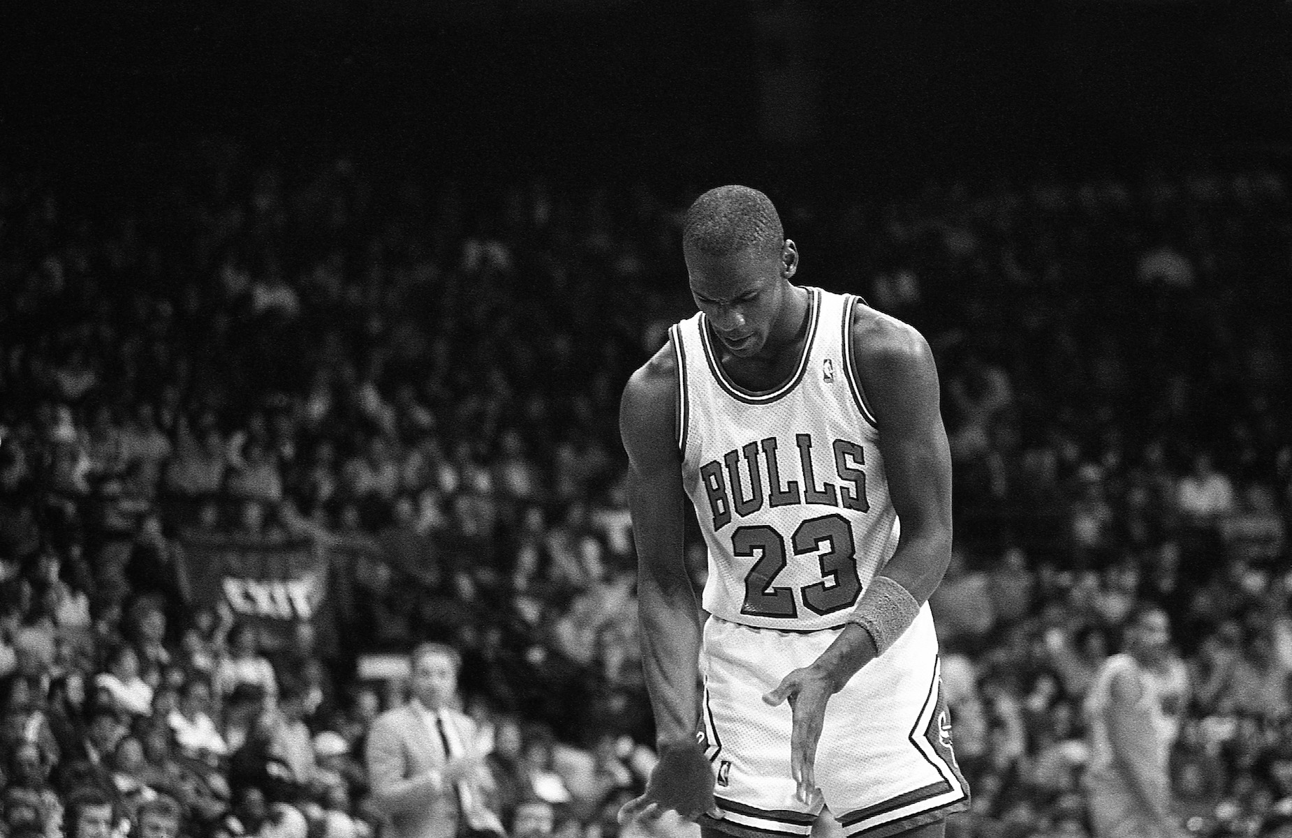 Michael Jordan at the free throw line for the Chicago Bulls.