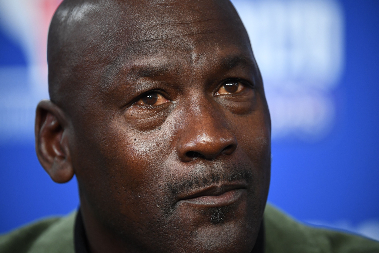 NBA and Chicago Bulls legend Michael Jordan during a press conference.