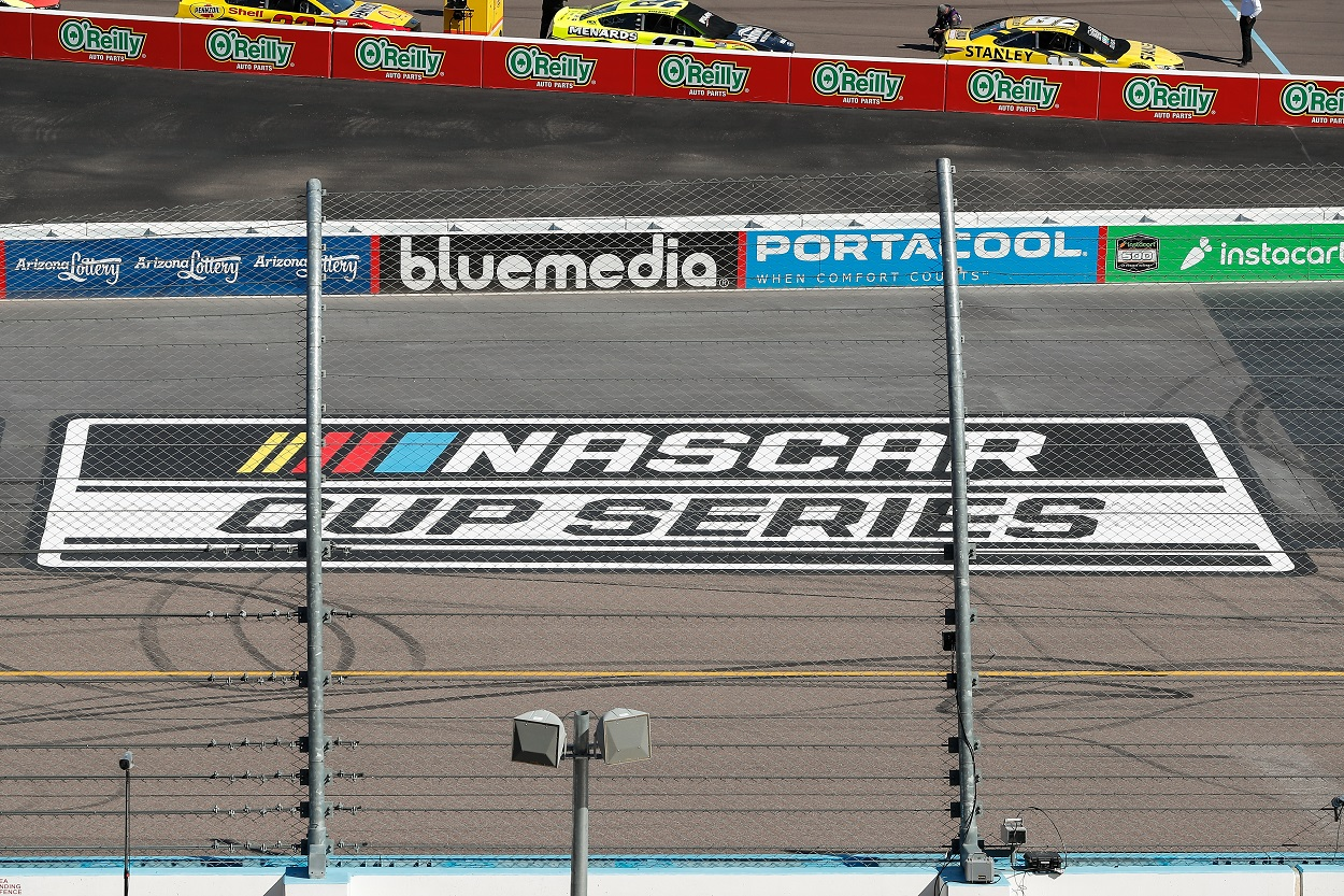 The NASCAR Cup Series logo at Phoenix ISM Raceway in March 2021