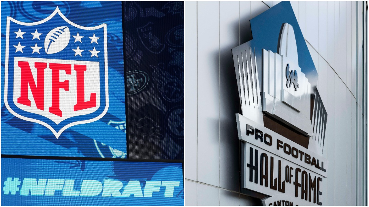 The NFL Draft and Pro Football Hall of Fame logos