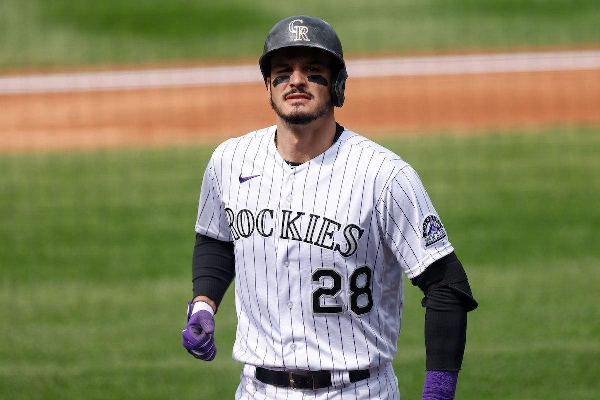 Nolan Arenado of the Colorado Rockies reacts after striking out in 2020