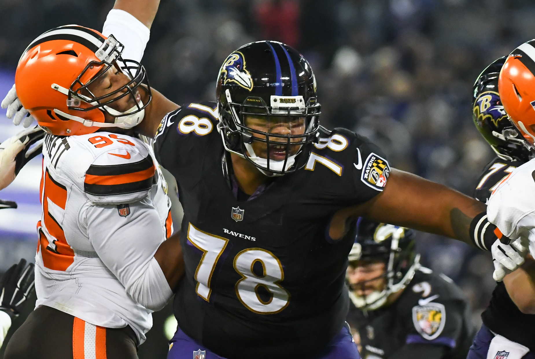 New Kansas City Chiefs guard Orlando Brown during his time with the Baltimore Ravens.