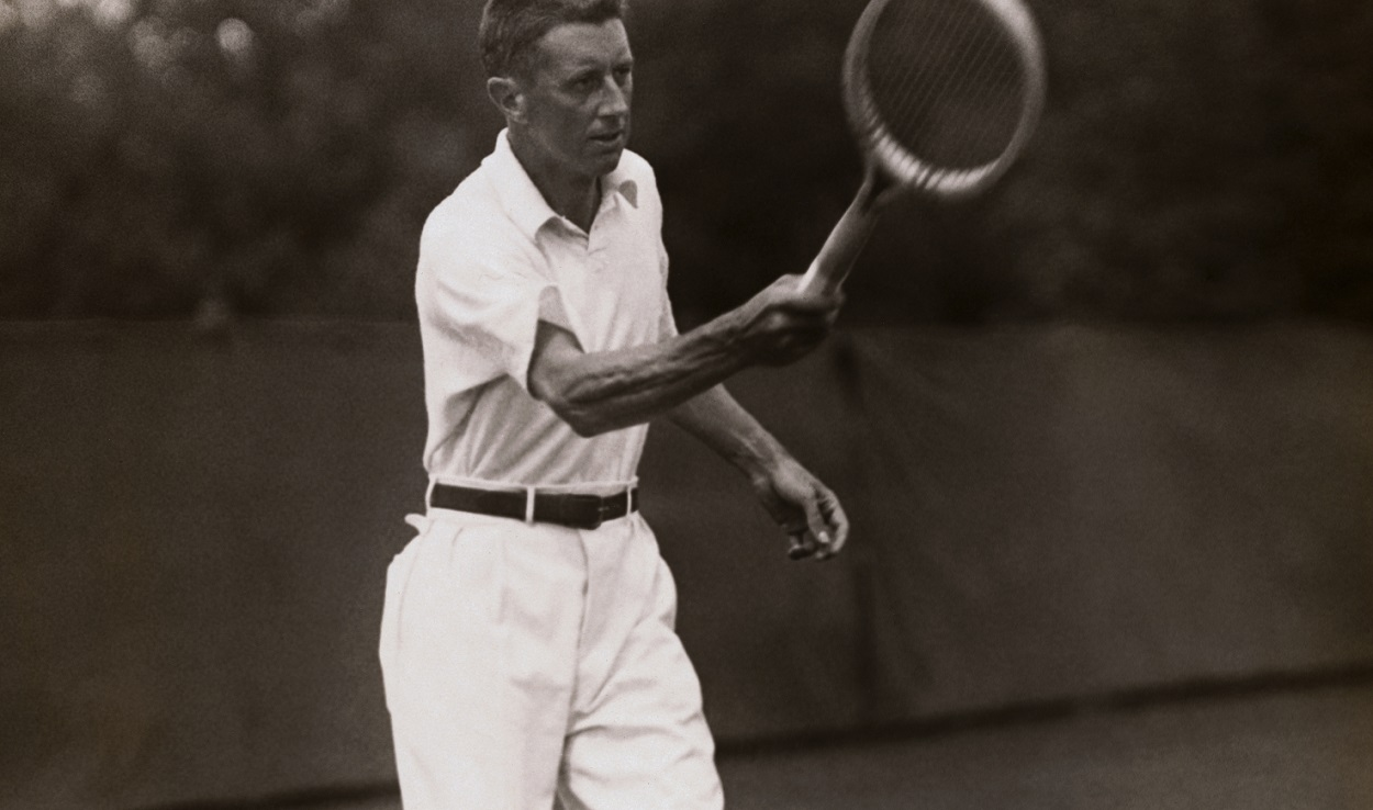 R. Norris Williams hits a shot at the Davis Cup
