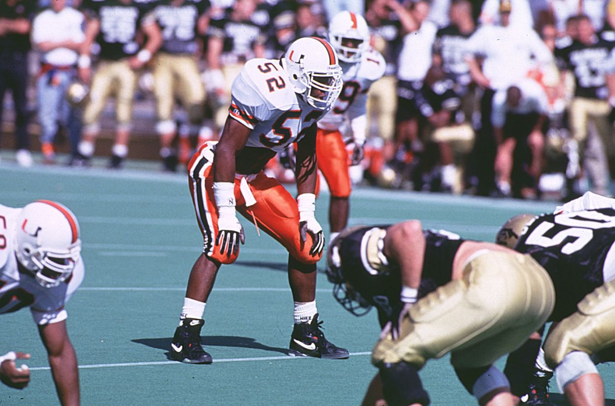 Miami Hurricanes linebacker Ray Lewis in 1993.