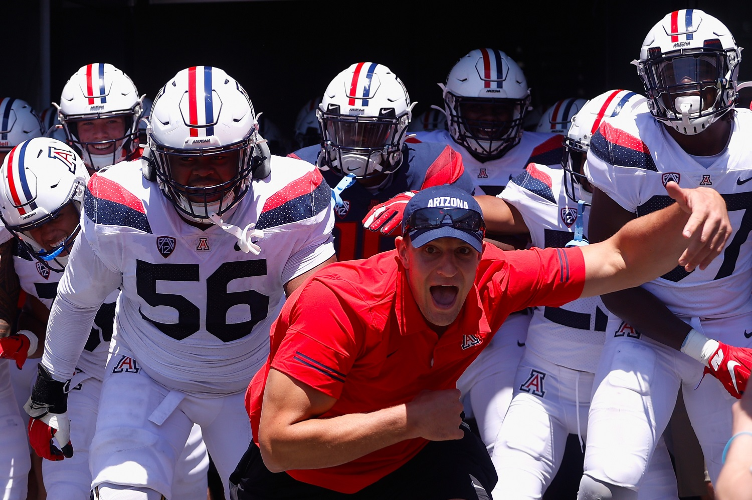 Former University of Arizona tight end Rob Gronkowski leads players onto the field before the Wildcats' annual spring game on April 24, 2021. | Christian Petersen/Getty Images