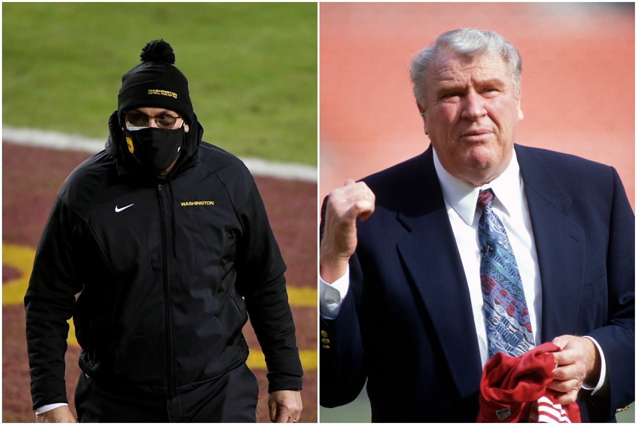 WFT head coach Ron Rivera next to retired NFL head coach and broadcaster John Madden