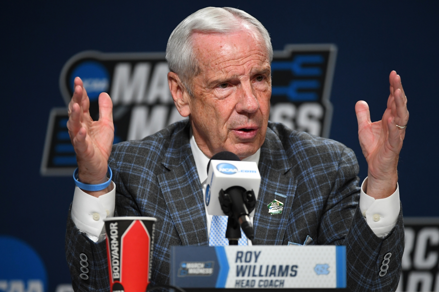 University of North Carolina Tar Heels coach Roy Williams speaks during a press conference.