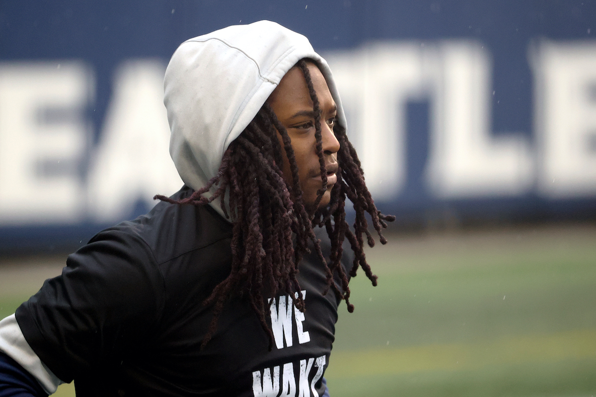 Shaquill Griffin looks on before a game