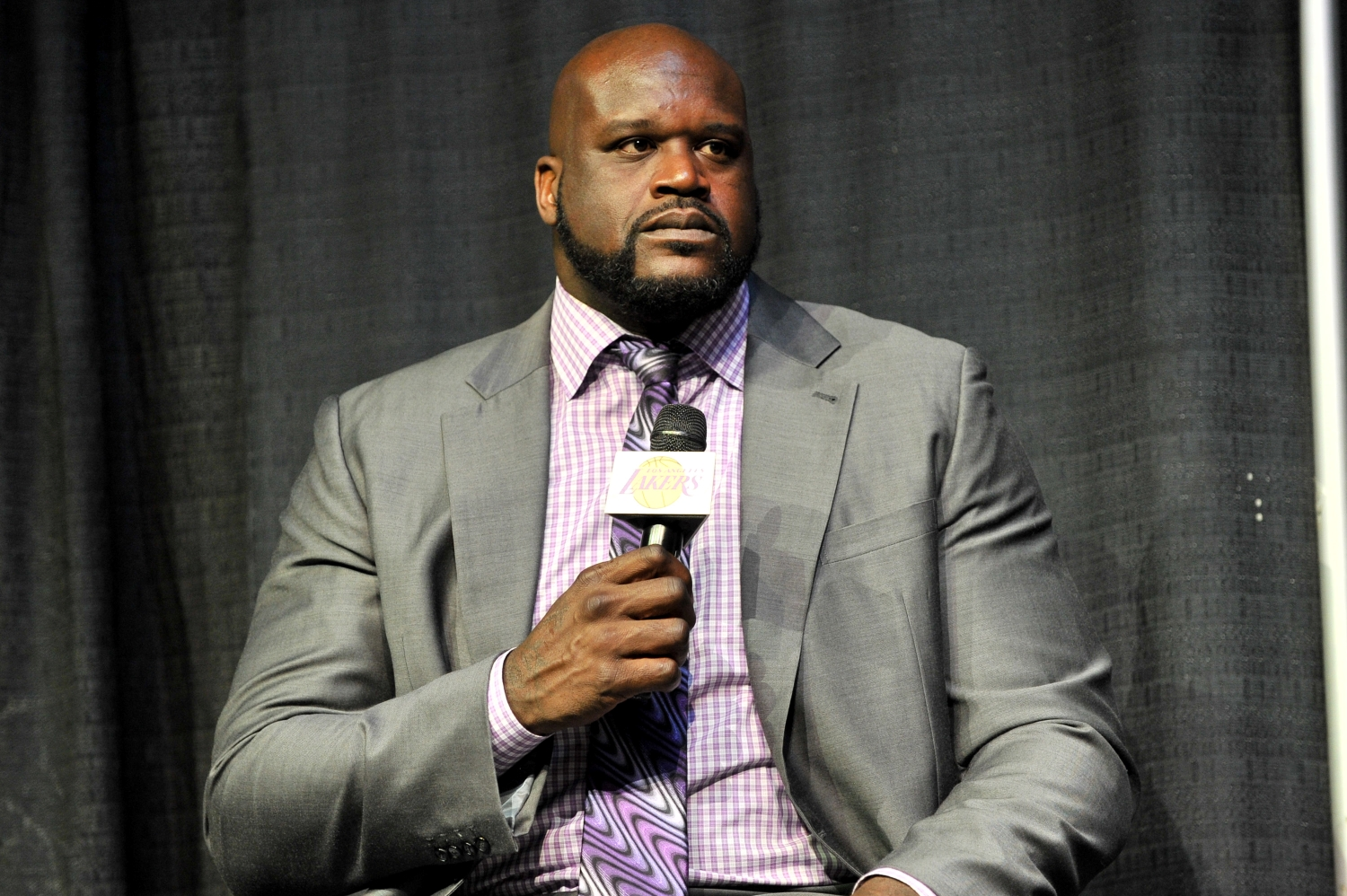 Former NBA star Shaquille O'Neal speaks during a Lakers event at the Staples Center.