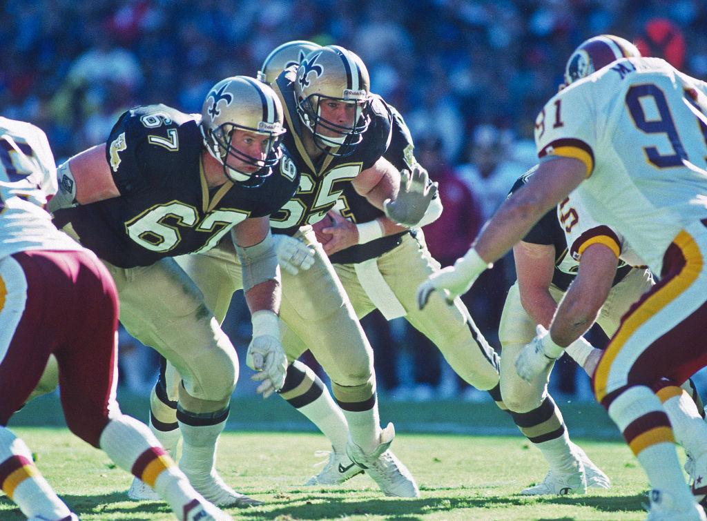 Saints offensive lineman Stan Brock (#67) and Steve Trapilo (#65) block against the then-Washington Redskins.