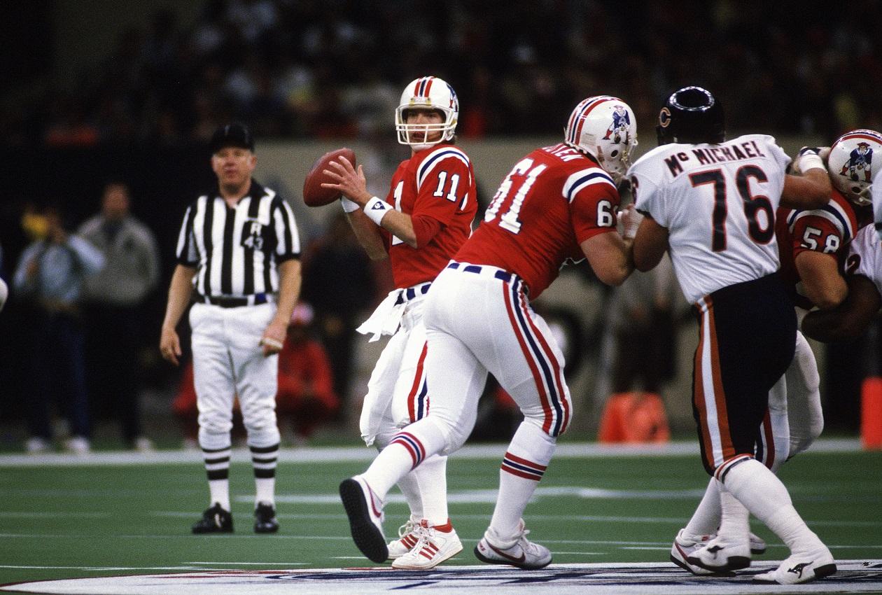 New England Patriots QB Tony Eason pressured during Super Bowl XX